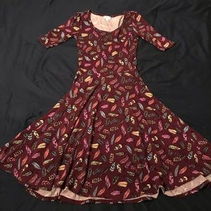 LulaRoe feather print Nicole dress xs